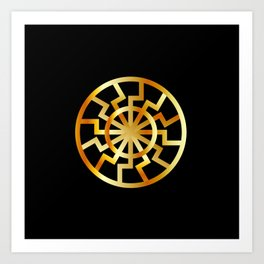 Black Sun symbol in gold- Schwarze Sonne- Occult subculture symbol Art Print