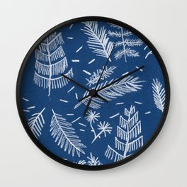White Pine on Speckled Blue Wall Clock