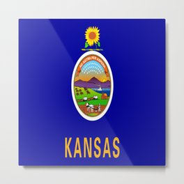flag Kansas-america,usa,middlewest,Sunflower State, Kansan,Topeka,Wichita,Overland Park,Wheat State Metal Print