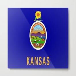flag Kansas-america,usa,middlewest,Sunflower State, Kansan,Topeka,Wichita,Overland Park,Wheat State Metal Print
