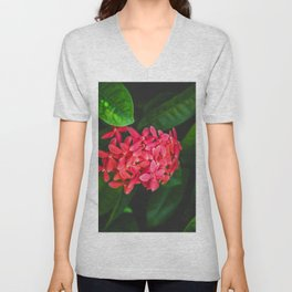 Secret Red Bunch Of Blowers Among Bright Green Leaves Nature Art Unisex V-Neck