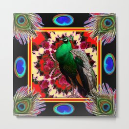 GREEN PEACOCK & FEATHERS RED-BLACK ART Metal Print