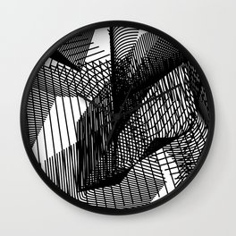 Abstract Skyscraper with Black and White Lines Modern Design Wall Clock