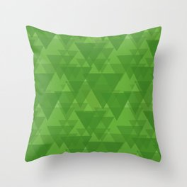 Gentle green triangles in intersection and overlay. Throw Pillow