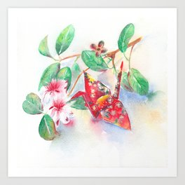 Flowers and Origami Crane - still-life watercolor Art Print