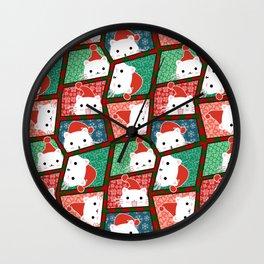 Christmas Cats in Santa Hats Wall Clock