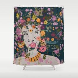 Princess- Urla-abstract Nordic goddess- blue-orange-florals Shower Curtain