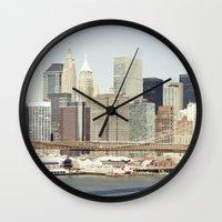 manhattan Wall Clocks featuring Manhattan by Leonor Saavedra