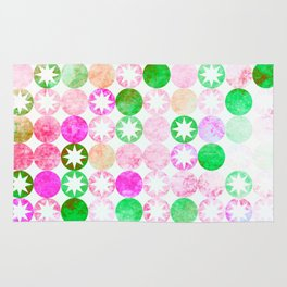 Grunge Pink & Green Dots with Star Bursts Rug