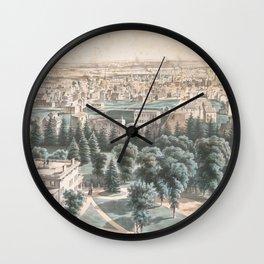 Vintage Pictorial Map of Newark NJ (1853) Wall Clock