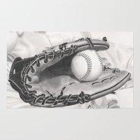 baseball Area & Throw Rugs featuring Baseball by aurelia-art