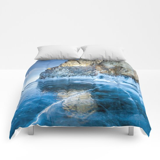 Blue Ice of the Lake Baikal Comforters