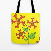 daschund Tote Bags featuring Doxie Flower by WhyitsmeDesign