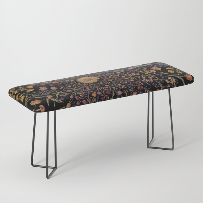 Medieval Flowers on Black Bench