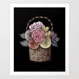 Flower Basket (color) Art Print