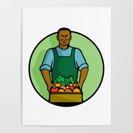African American Green Grocer Greengrocer Mascot Poster
