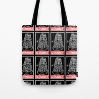 dr who Tote Bags featuring EXTERMINATE  |  Dalek  |  Dr. Who by Silvio Ledbetter
