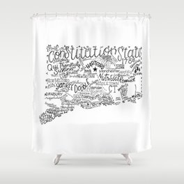 Connecticut - Hand Lettered Map Shower Curtain