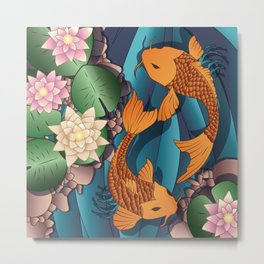 Carp Koi Fish in pond 002 Metal Print