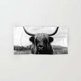 Scottish Highland Cattle Black and White Animal Hand & Bath Towel
