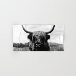 Scottish Highland Cattle Black and White Animal Hand & Bath Towel