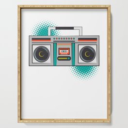 Never Forget Retro Vintage Cassette Player Boom Box Graphic Serving Tray