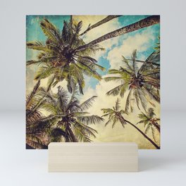 Vintage Blue Hawaii Palm Trees Mini Art Print