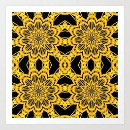 3-D Look Golden Kaleidoscopes Mandalas Flowers Art Print