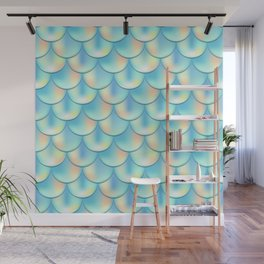 Teal Green Mermaid Pattern, Holographic Fish Scale Print Wall Mural