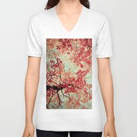 photograph V-neck T-shirts featuring Autumn Inkblot by Olivia Joy StClaire