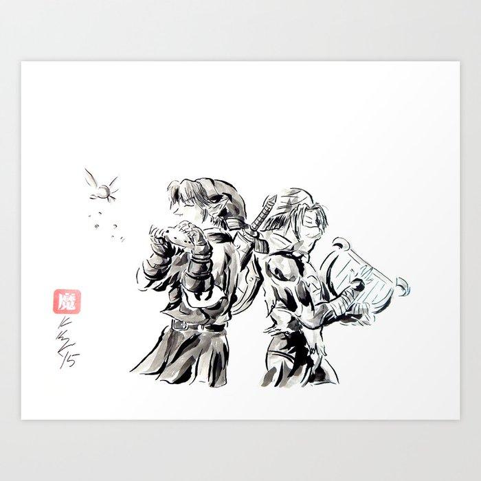 Ocarina Of Time Sheik And Link Princess Zelda Legend Of Zelda Art Print By Knappink