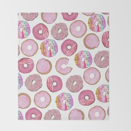 Cute Pink Sprinkle Confetti Watercolor Donuts Throw Blanket
