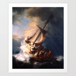 The Storm On The Sea Of Galilee Painting By Rembrandt Art Print