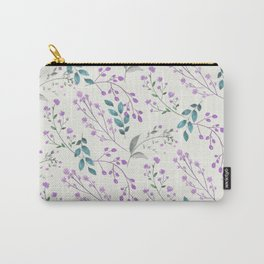 Hand painted watercolor lilac pink green ivory floral Carry-All Pouch