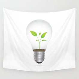 Light Bulb Plant Wall Tapestry