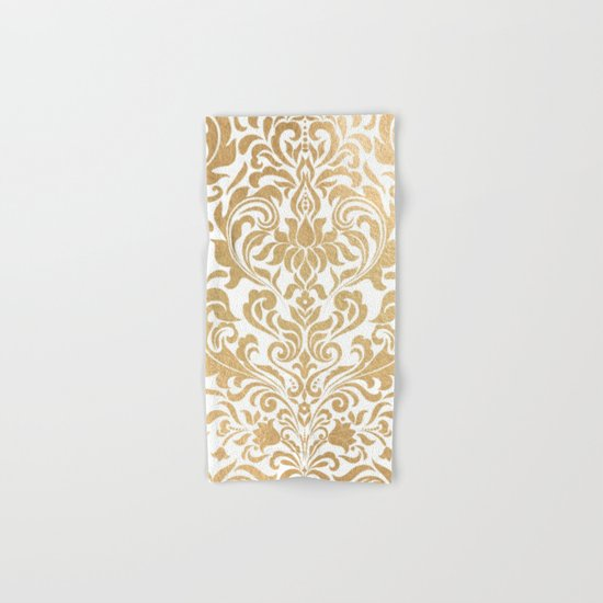 Gold foil swirls damask #12 Hand & Bath Towel
