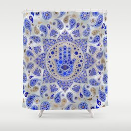 Hamsa Hand -Hand of Fatima Dot Art On Mother of pearl Shower Curtain