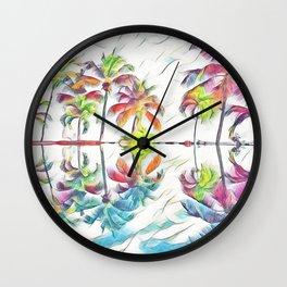 Rainbow Pastel Palm Trees Wall Clock