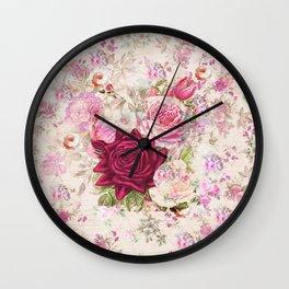 Vintage bohemian pink lavender roses flowers Wall Clock