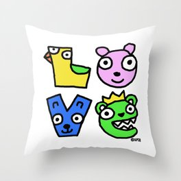 Love Creatures Throw Pillow