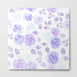 Blue and violet roses watercolor painting Metal Print