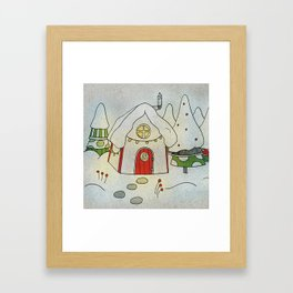 Winter cottage Framed Art Print