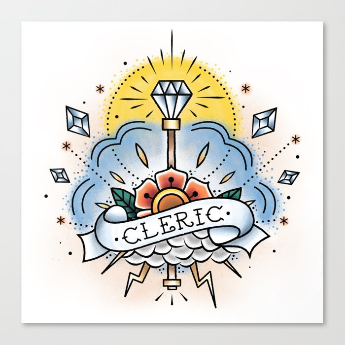 Cleric - Vintage D&D Tattoo Canvas Print