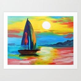 Sailboat at dawn Art Print