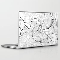 nashville Laptop & iPad Skins featuring Nashville Map Gray by City Art Posters