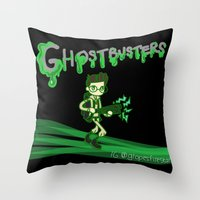 ghostbusters Throw Pillows featuring Ghostbusters by Glopesfirestar