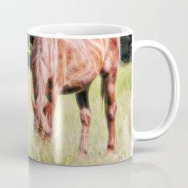 Horses feeding in a field Coffee Mug