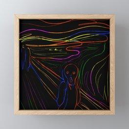 The Scream - Neon Line Art Framed Mini Art Print
