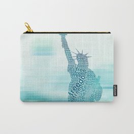 Typographic Statue of Liberty - Aqua Blue Carry-All Pouch