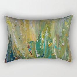 Fluid Nature - Windswept Cornfield - Abstract Acrylic Art Rectangular Pillow